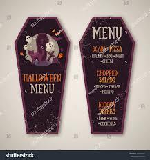 halloween menu design coffin shape vector stock vector 468397256