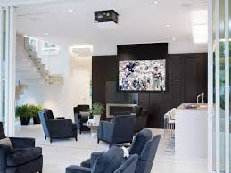 interior modern large hanging display screen in cool media room