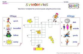 grammar worksheets grade 1 synonyms puzzle