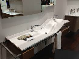 modern contemporary white fiberglass trough sink with board on