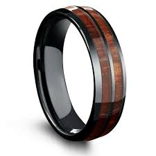 black wedding bands for him and 6mm barrel ceramic koa wood ring northernroyal