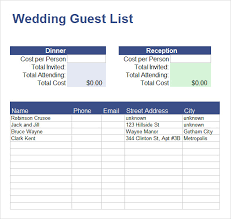 Wedding Invitation Excel Template Sle Guest List 8 Documents In Pdf Word Excel
