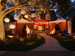 decorated halloween trees creepy carnival tents for an outdoor halloween theme hgtv