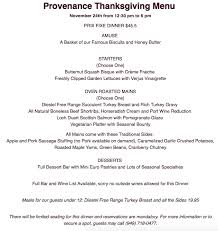 thanksgiving dinner in house or to go at provenance dine newport