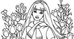 digital dunes barbie in flower garden coloring pages