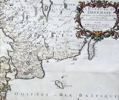1674 jaillot u0026 sanson very large antique map of denmark u0026 southern