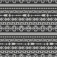 skull wrapping paper day of the dead tribal line mexican ethnic seamless