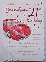 grandson 21st birthday card 21 today black champagne stripes