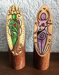 wooden god u0026 goddess altar decoration handcrafted cernunnos