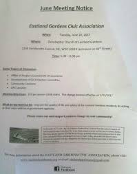 eastland gardens civic association announcements