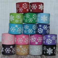 grosgrain ribbons 5 yards 7 8 snowflake print grosgrain ribbon