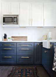 navy kitchen with gold accents brittanymakes the vintage rug