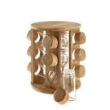 Kitchen Glass Canisters With Lids by Wooden Rotating Revolving Bamboo Spice Rack Glass Jars Gift For