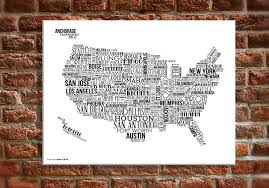 nobby design us map wall art 20 x 30 canvas usa with white text my