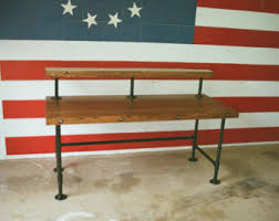 Industrial Standing Desk by Industrial Steampunk Butcher Block Standing Desk With Pipe