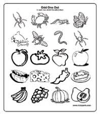 worksheet for kindergarten to take odd one out print out