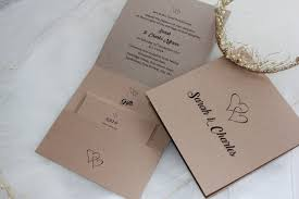 Folded Wedding Invitations Rustic Kraft Pocketfold Wedding Invitations