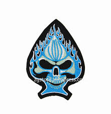 embroidery patches personality blue burning skull spade iron