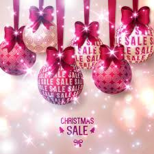 sale purple baubles on light background