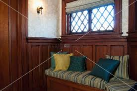 Bench Built Into Wall Cushions On Wooden Bench Built Into Wooden Wall Panelling Below