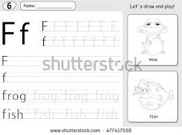 cartoon dog doll alphabet tracing worksheet stock vector 477417559