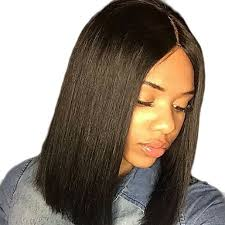 center part bob hairstyle women s synthetic lace front wig short straight dark black middle