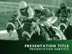 royalty free horse racing powerpoint template in green