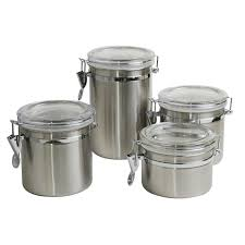 Stainless Steel Canister Sets Kitchen Food U0026 Kitchen Storage Cookware Dining U0026 Bar Home Furniture
