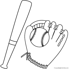 bat and baseball in glove coloring page sports