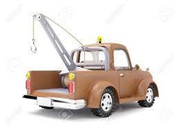 cartoon car back old cartoon tow truck on white background back view stock photo