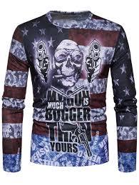American Flag Skull Long Sleeves 2xl Distressed American Flag Skull Print Long