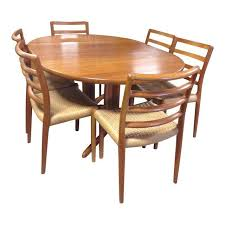Teak Dining Room Chairs Teak Dining Table 6 Ladder Back Chairs Chairish