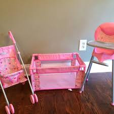 Baby Doll High Chair Set Find More Baby Doll Play Set 3 Items Stroller Playpen