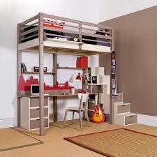 lit mezzanine adolescent avec bureau et escalier aux rangements