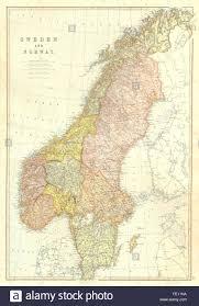Scandinavia Map Scandinavia Sweden U0026 Norway Scale In Swedish Norwegian Stock