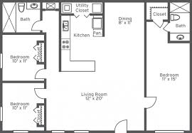 Simple 3 Bedroom House Plans Without Garage Modern Bungalow Floor Plans Bedroom Bath Single Story House Flat