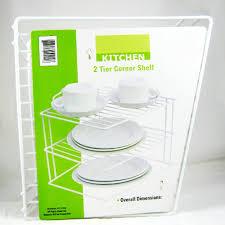 amazon com 2 tier corner shelf counter cabinet organizer kitchen