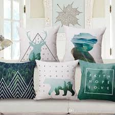 forest mountain cushion cover nordic deer bear geometric thick
