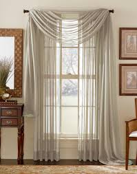 Silver Window Curtains Sheer Voile Elegance Curtain Scarf Panel Silver Grey