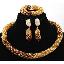 bridal choker necklace images Mix dark red and gold indian anniversary party necklace set bridal jpg