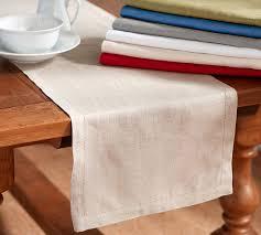pottery barn table linens pb classic belgian flax linen hemstitch table runner pottery barn