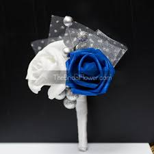 royal blue and silver wedding wedding boutonniere winter boutonniere royal blue and silver