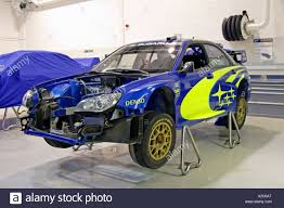 subaru sti rally car subaru impreza world rally car being prepared in swrt workshop at