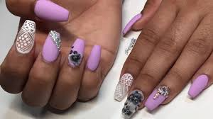 lilac ombre floral acrylic nails youtube