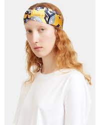 silk headband gucci women s gg wallpaper print silk headband in yellow in yellow