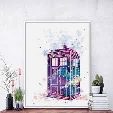 original watercolor dr who art prints poster abstract wall
