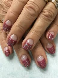 rose mauve gold glitter high french gel nails gel nail designs