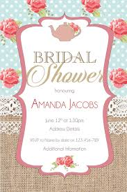 bridal tea party invitation wording burlap burlap floral bridal shower invitation shabby