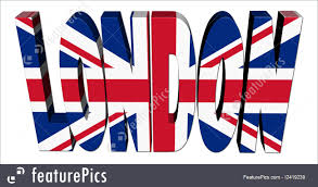 British Flag With Red Illustration Of London Text With British Flag
