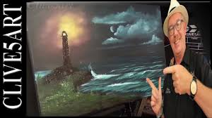 light house seascape bob ross style acrylic painting for beginners you